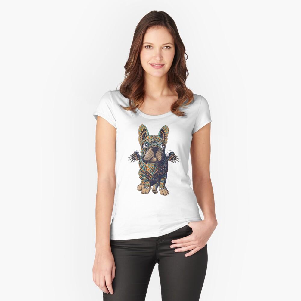 Frenchie Tailliertes Rundhals-Shirt