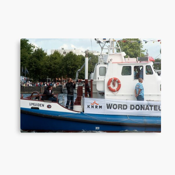 Photographers, lifesaver ring and crew on the IJmuiden Metal Print