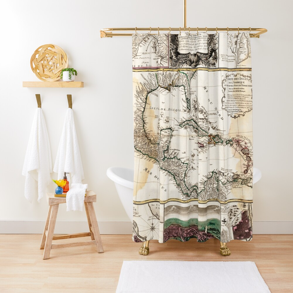 Map of the Caribbean (1781) Shower Curtain