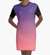 Twilight Purple and Coral Ombre Graphic T-Shirt Dress