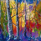 Verzaubertes Universum-Sonnenuntergang-Waldmalerei von OLena Art von OLena  Art ❣️
