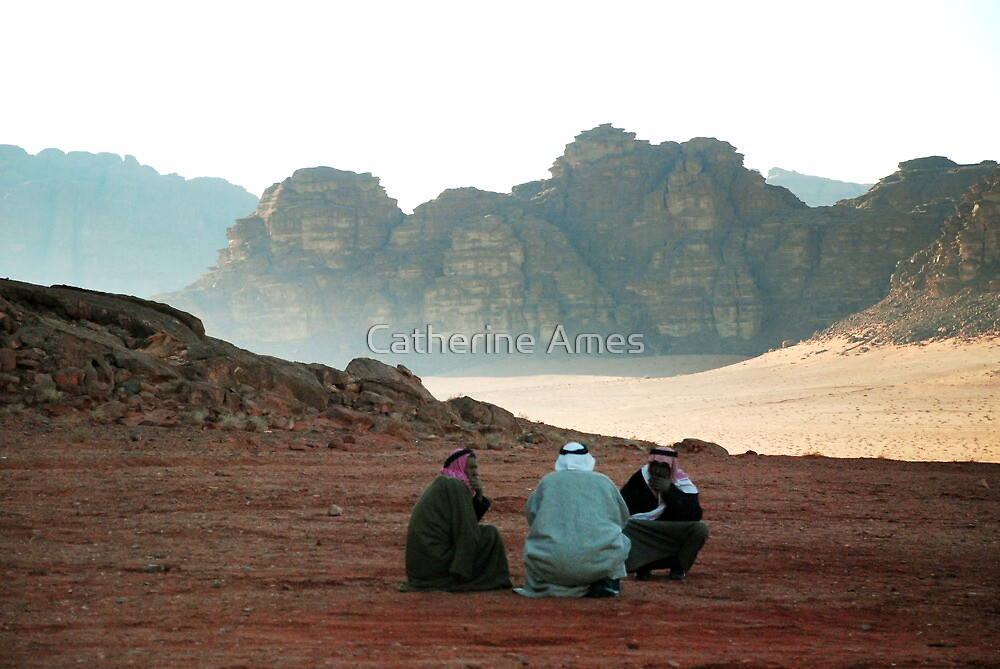 Three men in conversation. by Catherine Ames