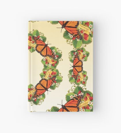 Monarch with Strawberries on Buttercream Hardcover Journal