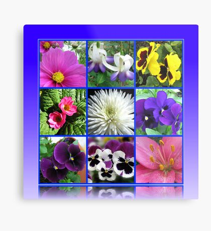 Colours of Summer Floral Collage Metallbild