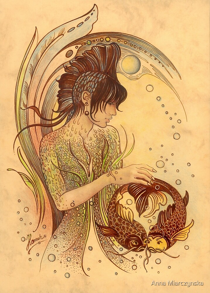 """""""THE PISCES"""" - Protective Angel for Zodiac Sign by Anna Miarczynska"""
