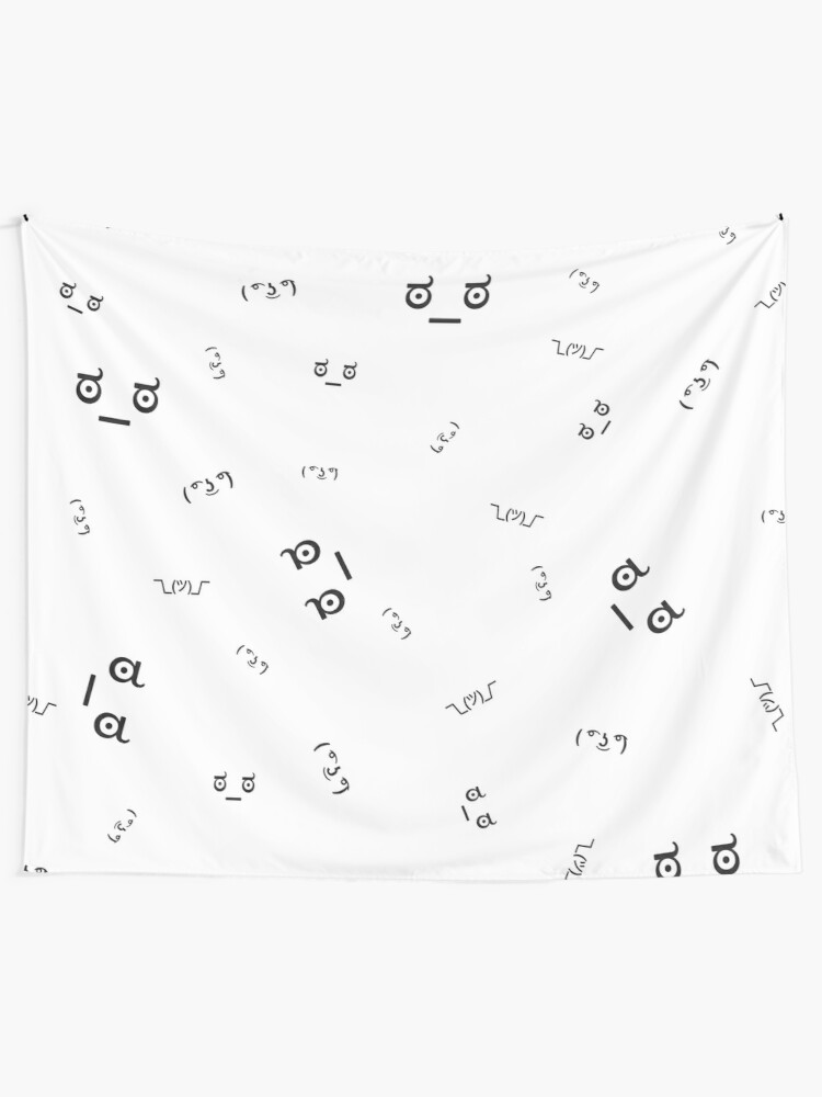 Text Emoji and Kawaii Faces Emoticon text-based black and white pattern and  sticker set x11 HD High Quality Online Store | Wall Tapestry
