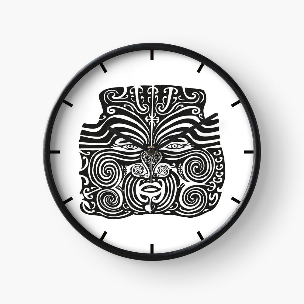 Maori Moko | Tribal Tattoo | New Zealand | Black and White |  Clock