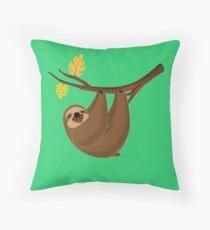 Lazy Smiley Sloth Throw Pillow