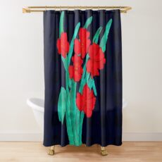 Red flowers gladiolus art nouveau style Shower Curtain