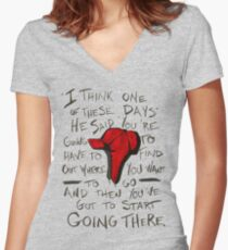 The Catcher in the Rye - Holden's Red Hunting Cap Women's Fitted V-Neck T-Shirt