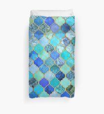 Kobaltblau, Aqua & Gold Dekorative marokkanische Fliesenmuster Bettbezug