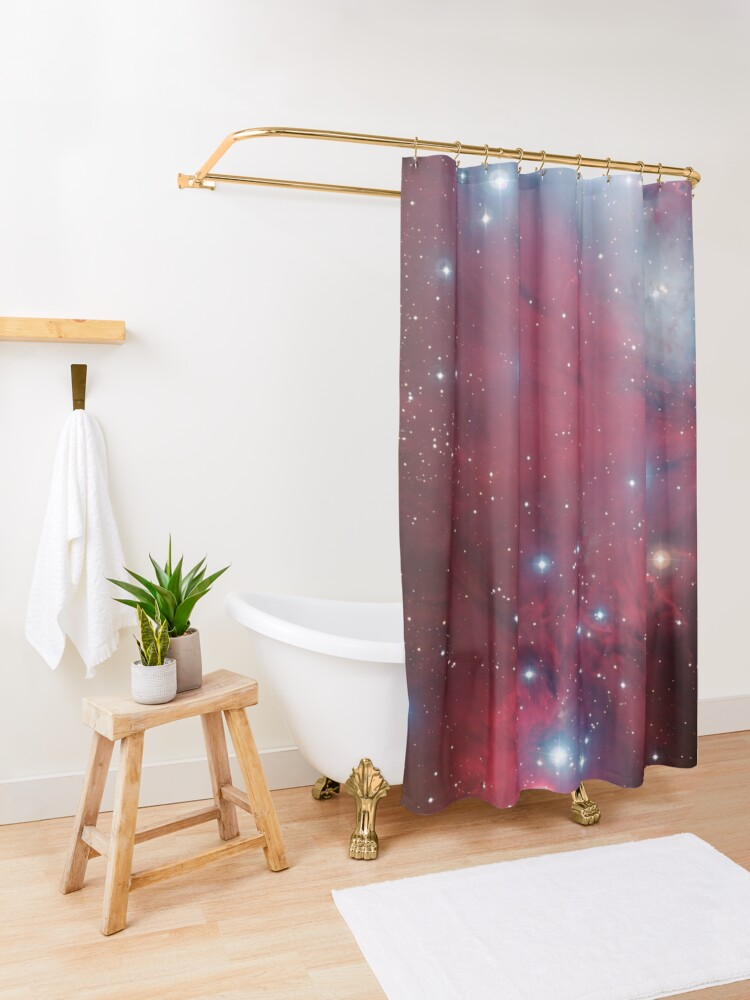 Alternate view of Christmas Tree cluster and NGC 2264 red stars nebula in Monoceros constellation ESO Space Telescope Picture HD HIGH QUALITY Shower Curtain