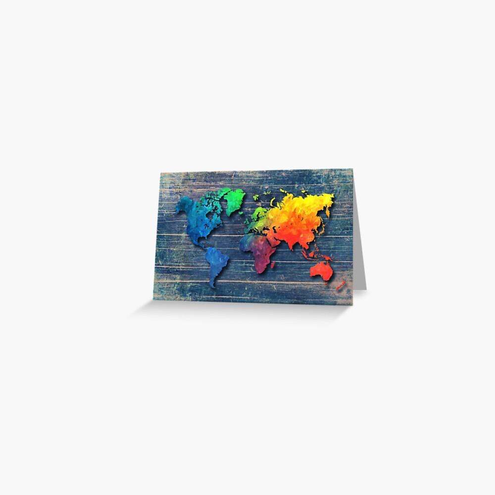 Weltkarte speziell 8 Grußkarte