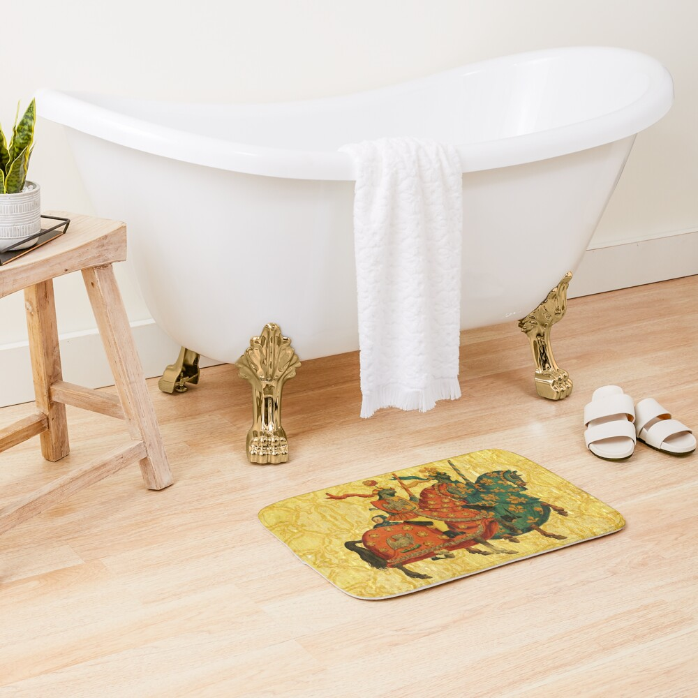 Medieval Watercolor Pattern Bath Mat