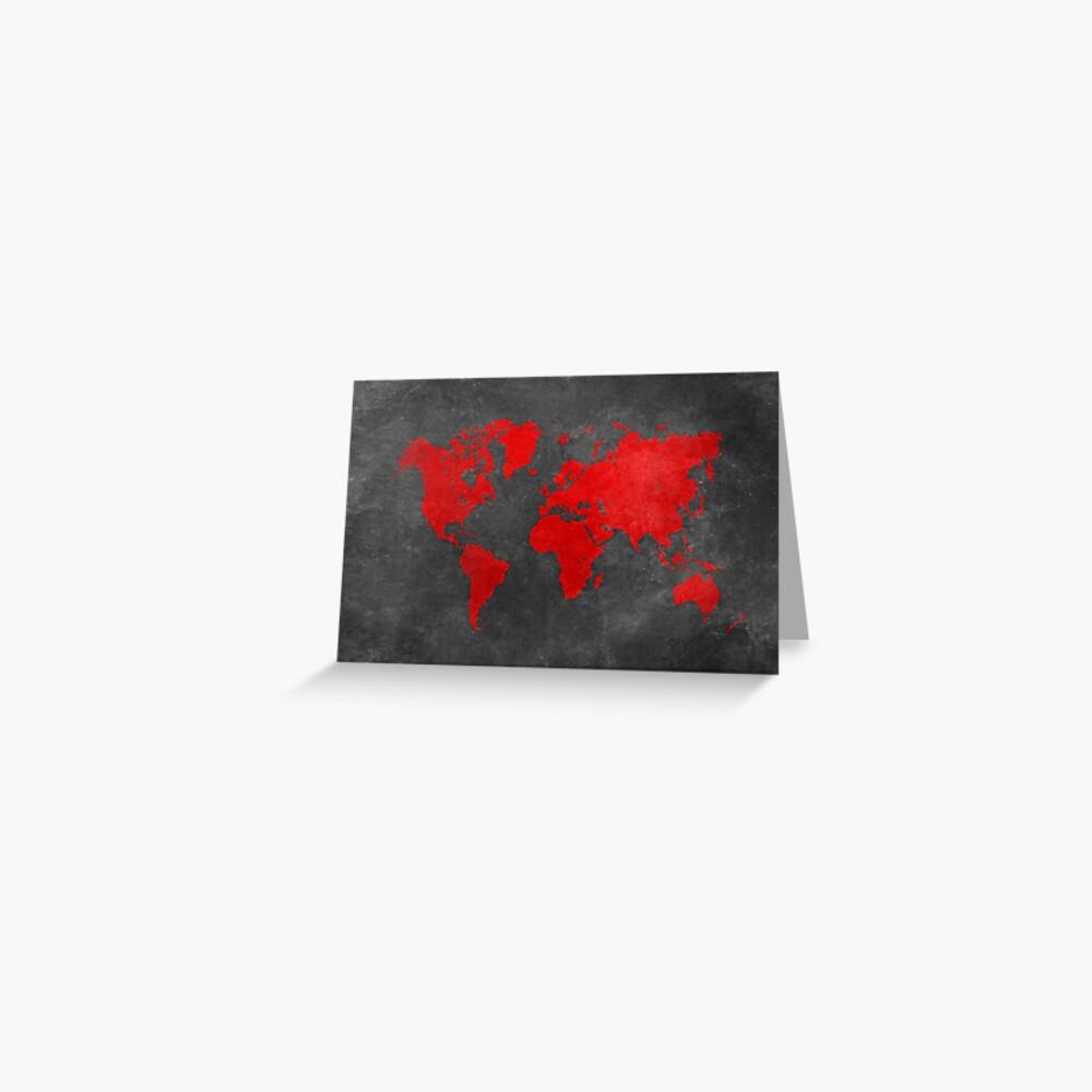 Weltkarte schwarz und rot Grußkarte