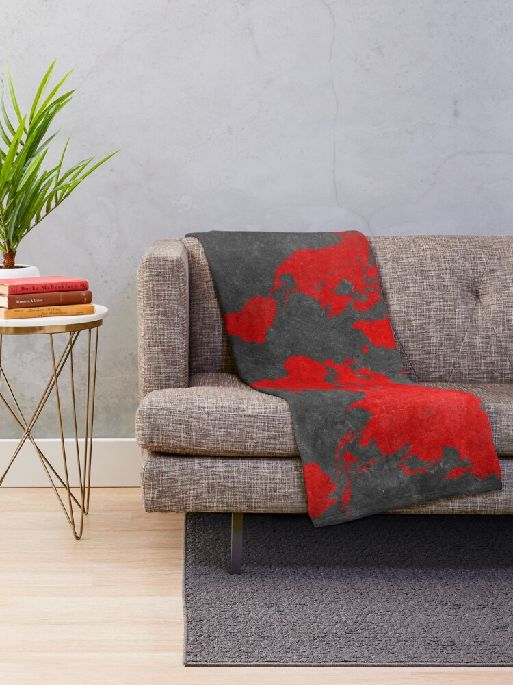 Alternate view of World map black and red Throw Blanket