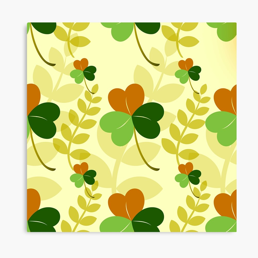 Green Red and Yellow Flower Power Garden Leaves Canvas Print