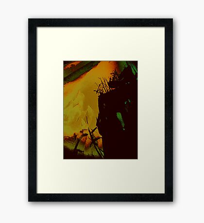 fire glows.... valley lights  Framed Print