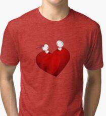 Sitting on a big & Lovely Red Heart - T-Shirt Tri-blend T-Shirt