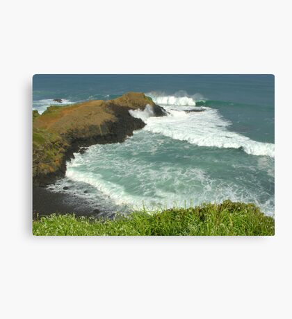 10ft swell at the blowhole Canvas Print
