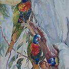 Rainbow Lorrikeets by scallyart