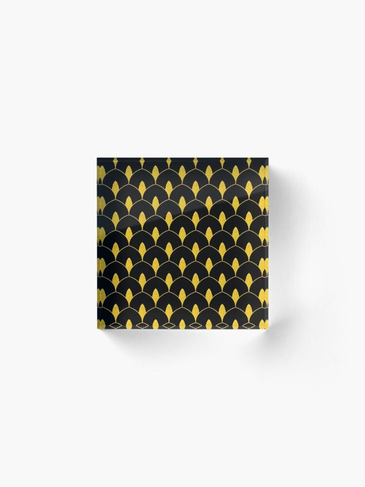 Alternative Ansicht von Trockenes Martini-Gold und schwarzes Art Deco-Muster Acrylblock