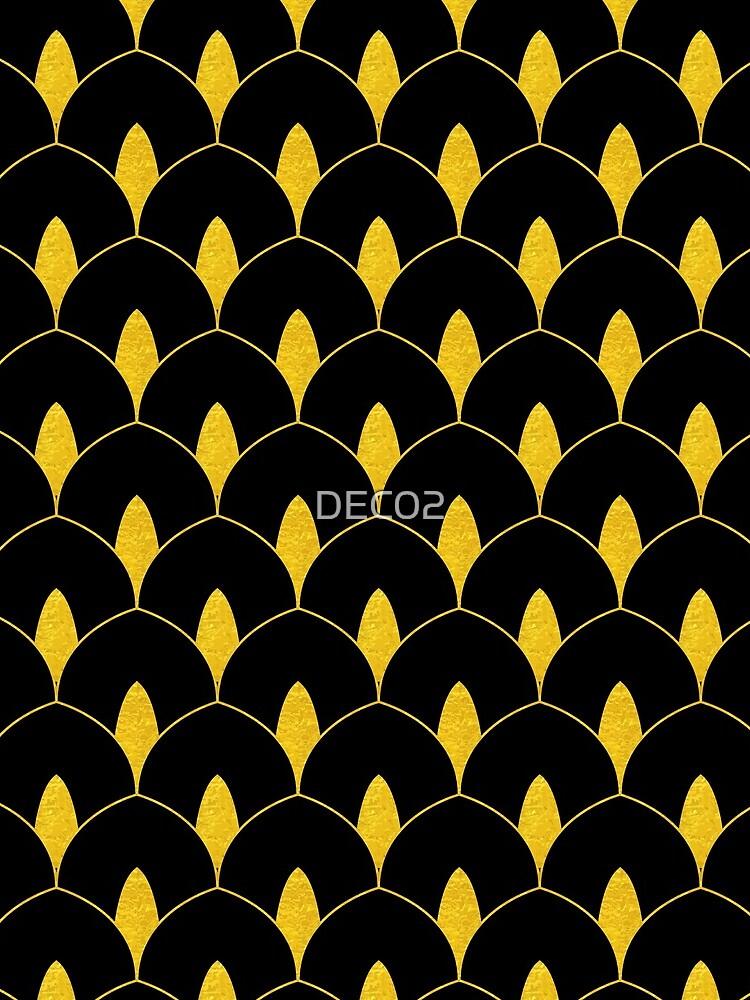 Trockenes Martini-Gold und schwarzes Art Deco-Muster von DEC02