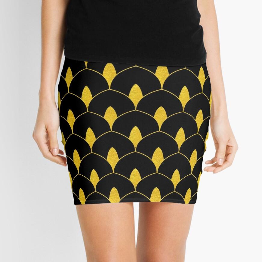 Trockenes Martini-Gold und schwarzes Art Deco-Muster Minirock