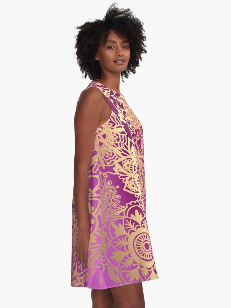Alternate view of Pink and Gold Mandala Pattern A-Line Dress