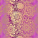 Pink and Gold Mandala Pattern by julieerindesign