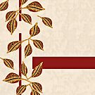 Minimal Red and Gold Neutral Seed Pods Leaves Nature Print by SandAndChi