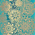 Teal Green and Gold Mandala Pattern by julieerindesign