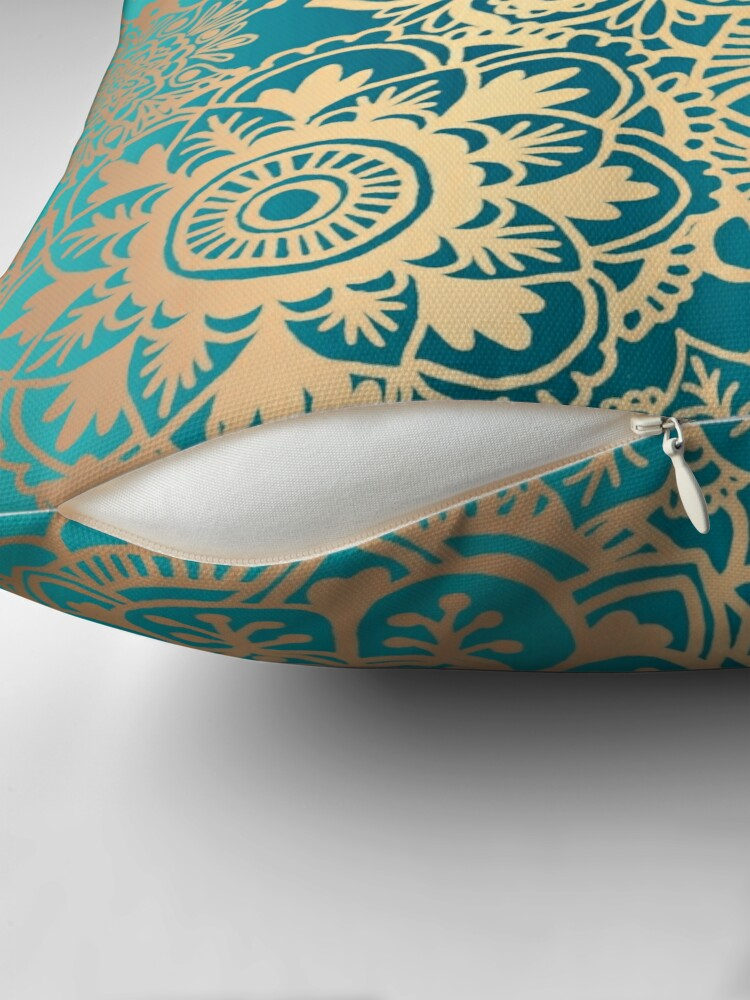 Alternate view of Teal Green and Gold Mandala Pattern Throw Pillow
