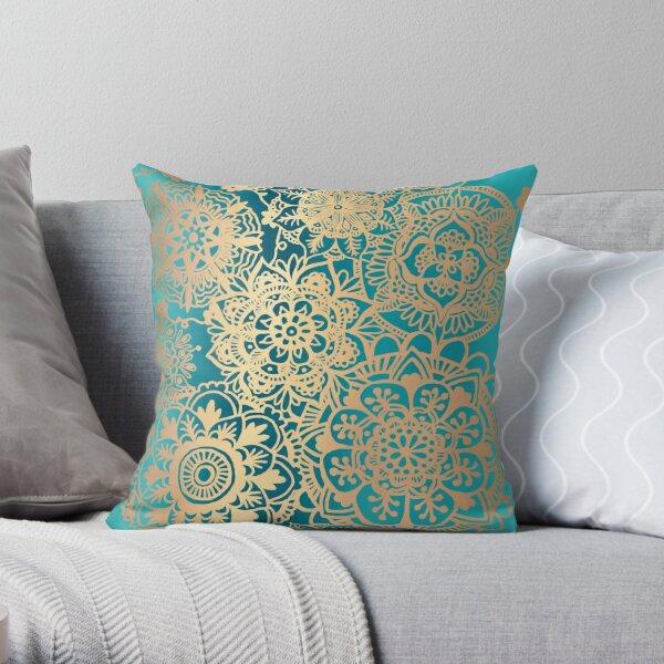 Teal Green and Gold Mandala Pattern Throw Pillow