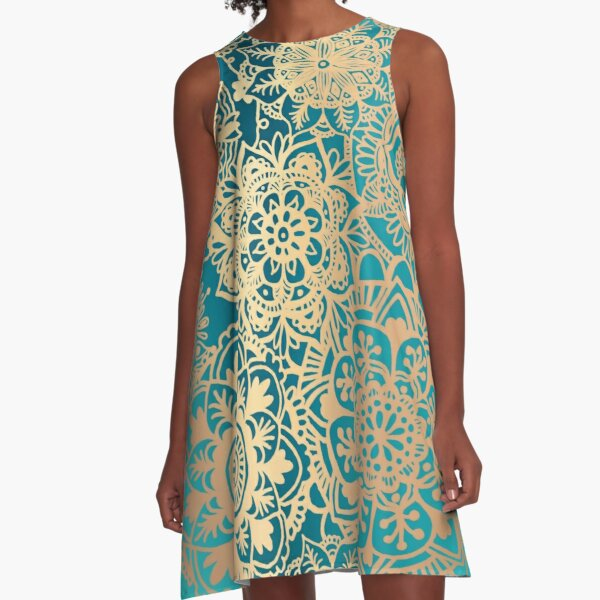 Teal Green and Gold Mandala Pattern A-Line Dress