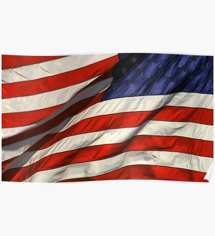 Blowing American Flag Poster