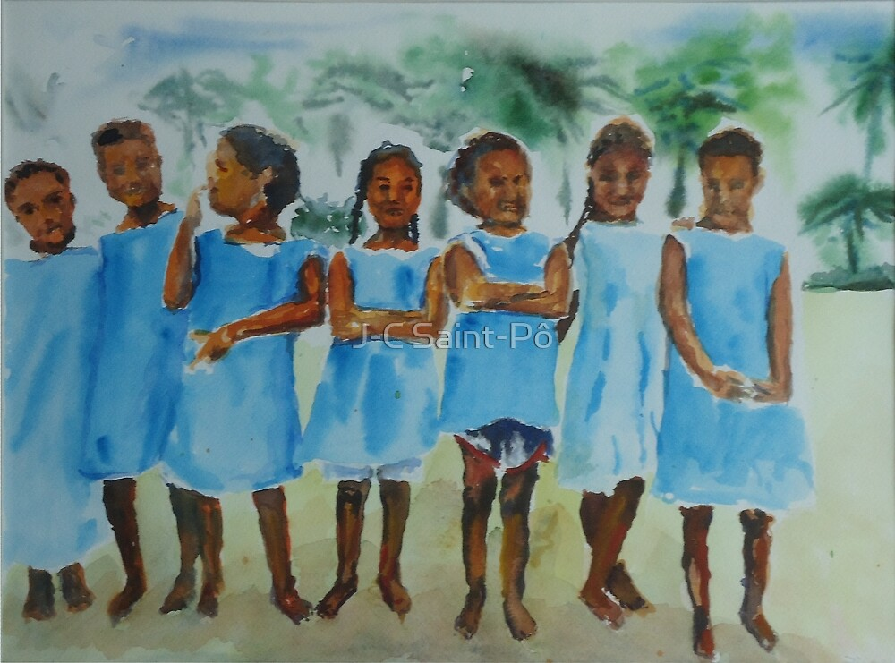 Polynesian Schoolgang by J-C Saint-Pô