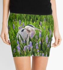 Great Blue Heron in Pickerel Weed Mini Skirt
