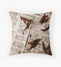 Raven on Aged Paper Throw Pillow