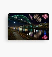 Tyne Bridge Fireworks, Newcastle upon Tyne, UK Canvas Print