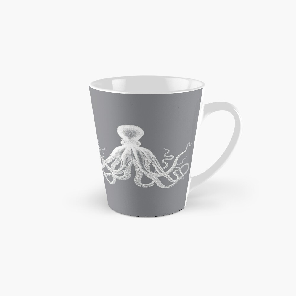 Octopus | Vintage Octopus | Tentacles | Sea Creatures | Nautical | Ocean | Sea | Beach | Grey and White |  Tall Mug