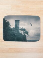 """""""The Tower Of Kinnoull Hill"""" by Cat Burton Bath Mat"""