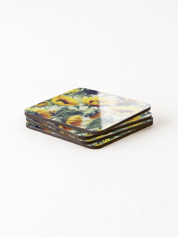 Alternative Ansicht von Sonnenblumen für immer Untersetzer (4er Set)