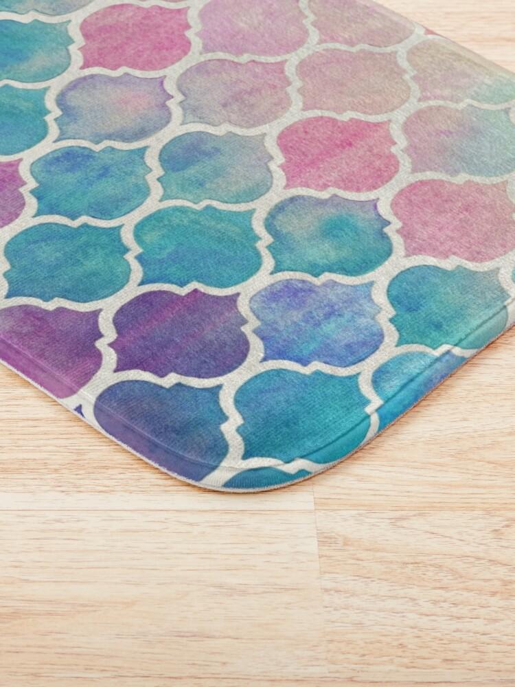 Vista alternativa de Alfombra de baño Rainbow Pastel Watercolor Marroquí Patrón