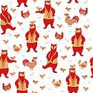 Tanzende Bären, Hähne und Hühner. von Skaska
