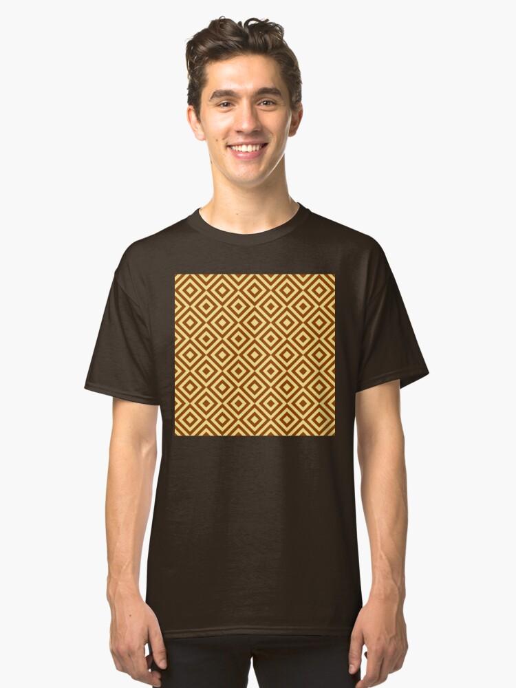 Alternate view of Geometric Pattern: Diamond Strobe: Brown Classic T-Shirt