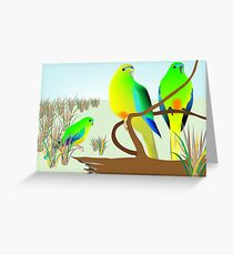 Orange Bellied Parrots Greeting Card