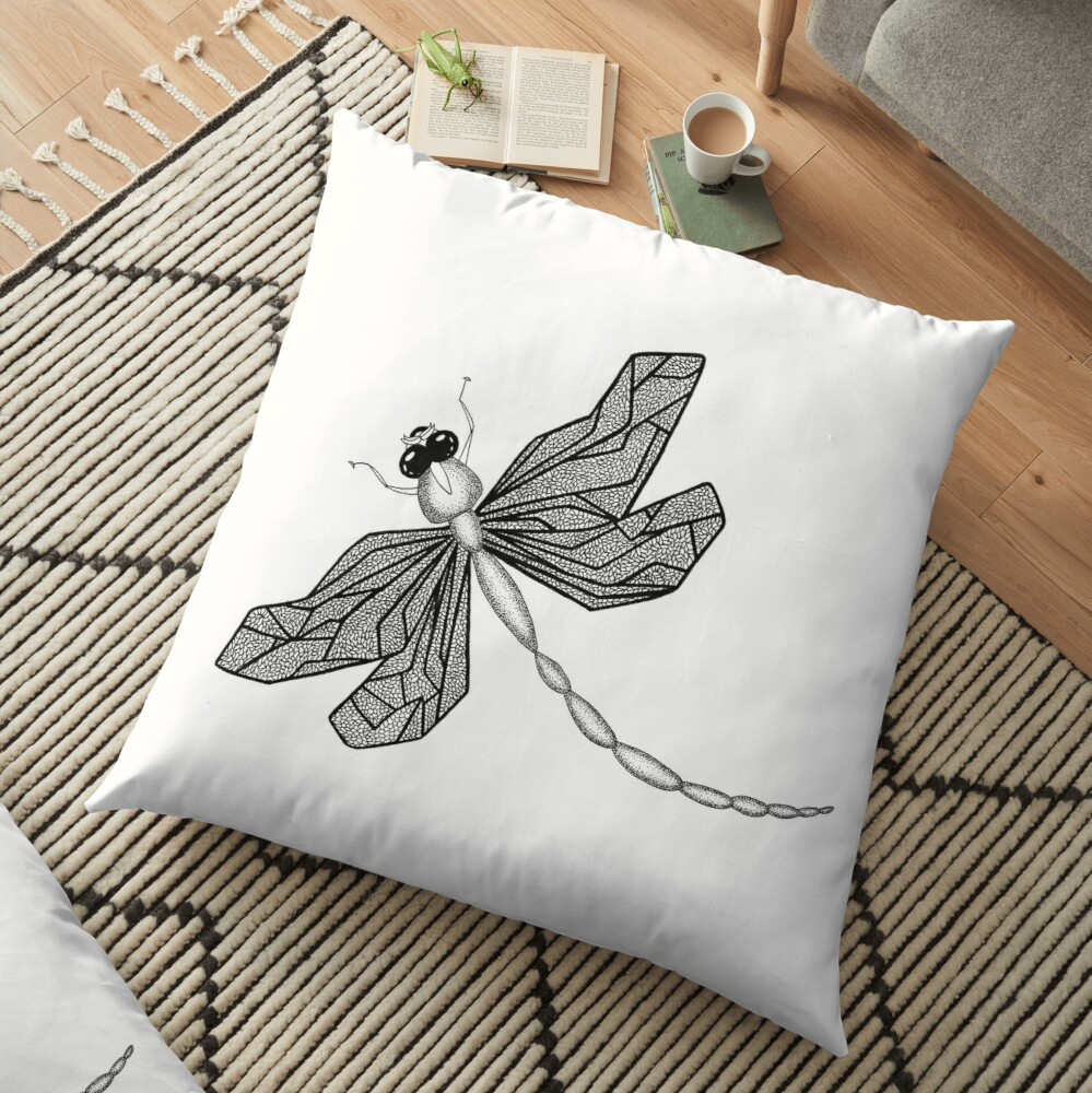 Dragonfly (ink illustrations of weird animals that are real) Floor Pillow