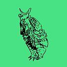Green Pangolin / Armadillo Drawing by stringerthings