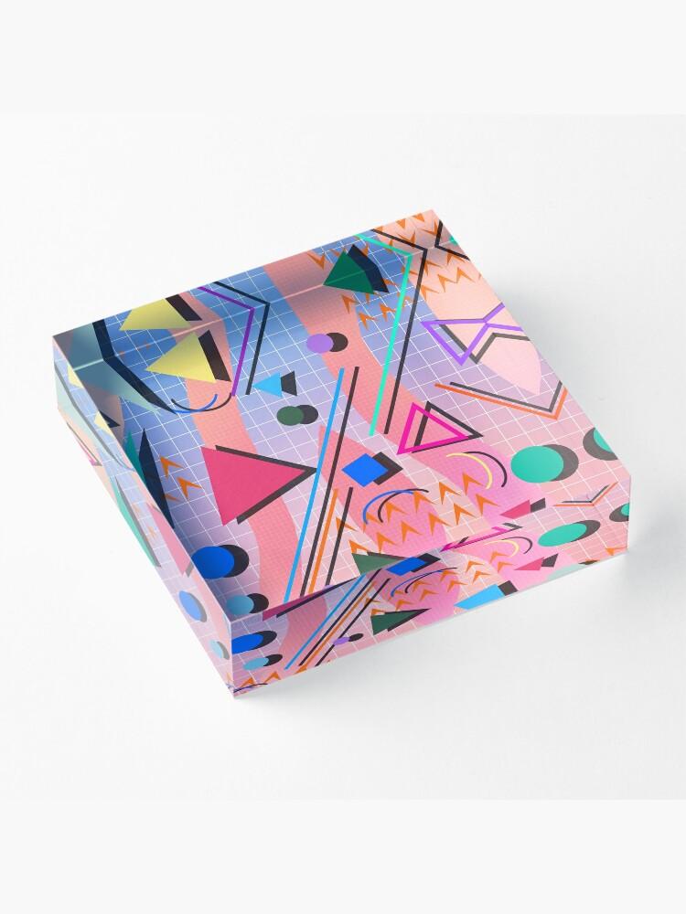 Alternate view of 80s pop retro pattern 2 Acrylic Block